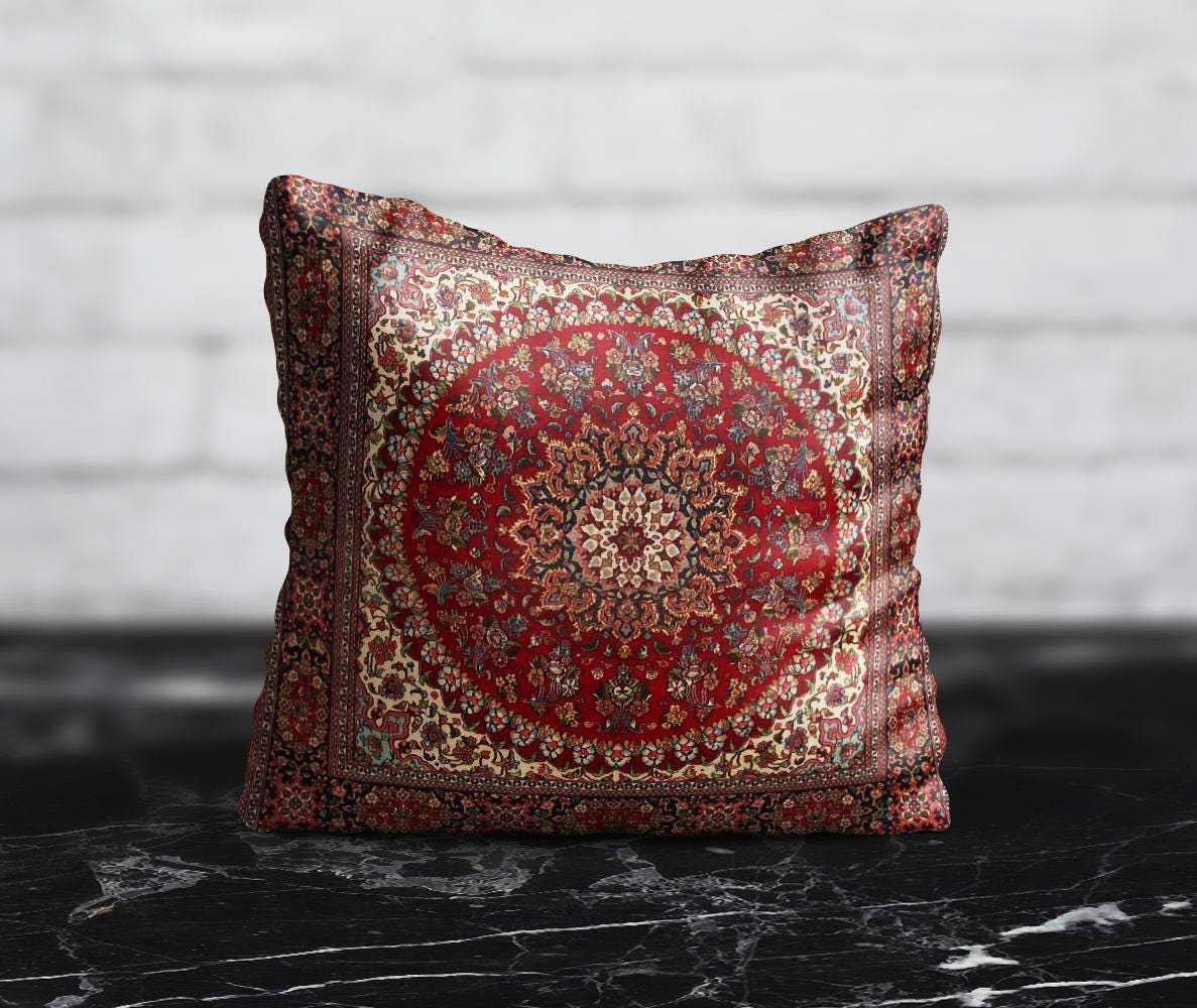 Persian Carpet Pillow Morocco PillowCase Red Cushion Case | Etsy