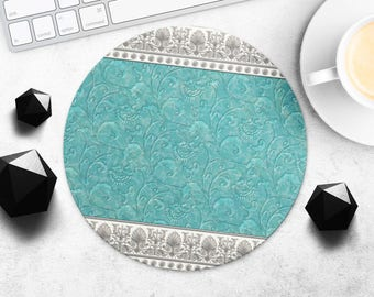 Tiffany Mouse Pad Floral Mouse Mat Fashion MousePads Turquoise MouseMat Flower MousePad Style Desk Accessories Office Supplies Gift for Her