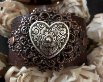 Heart bracelet leather cuff, cowgirl bracelet, western bracelet, western jewelry, cowgirl jewelry, chunky bracelet, leather bracelet