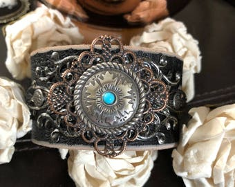 Country leather bracelet cuff, cowgirl gift, cowgirl bracelet, leather cuff, southwestern bracelet, chunky bracelet, western jewelry