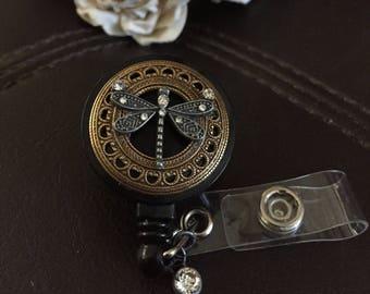 Dragonfly badge reel, dragonfly gift, badge clip, badge holder, retractable badge reel, nurse badge reel
