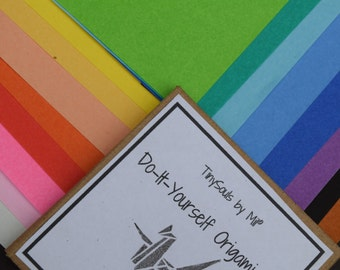 Do-It-Yourself Origami Kit - Paper Crane in full rainbow