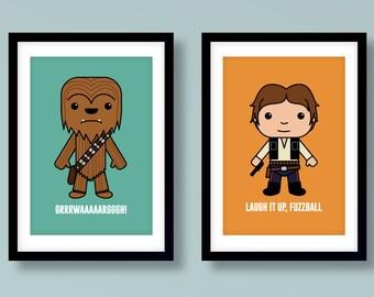 Star Wars inspired wall art, kids wall art, Star Wars, Han Solo, Chewbacca, Han & Chewie, Fuzzball, Star Wars nursery, Star Wars wall art