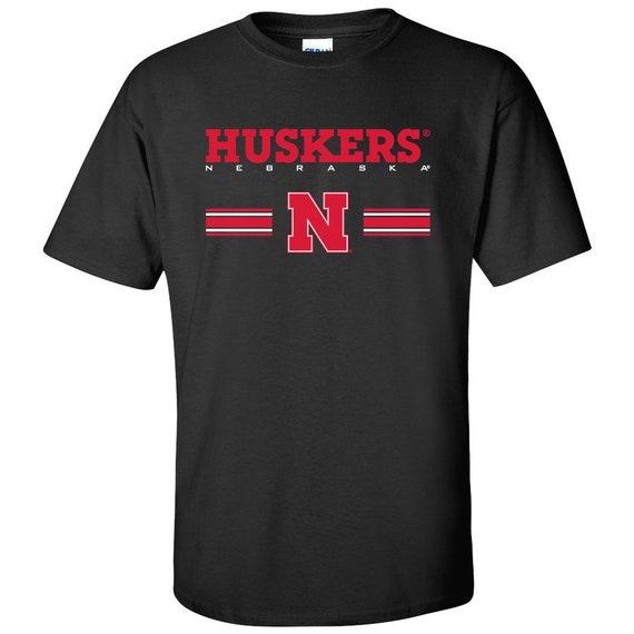 Red Gray and Black Options CornBorn Nebraska Tee Shirt HUSKERS Stripe Block N