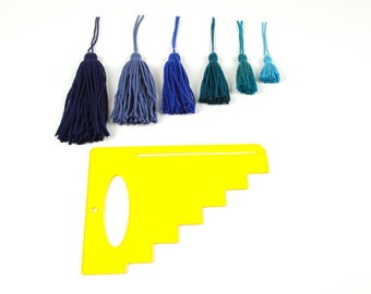 """PattieWack™ Tassel Maker lets you to create 6 SIZES of tassels from 2-7"""" long, in 4 EASY STEPS! For yarn, floss, ribbon, tulle, anything!"""