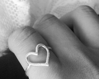 heart ring in sterling silver
