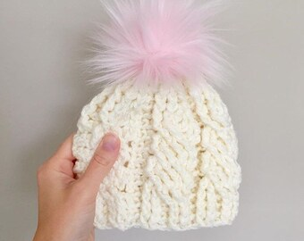 b9399177929b92 Baby and Toddler Hat With Pom Pom Off White Pink Hat for Girls Child Beanie