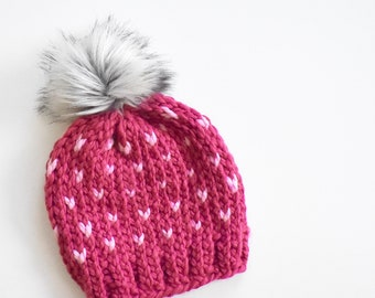 9cf21c9ae94675 Toddler or Child Knit Hat with Pom pom Girls Pink Beanie Winter Hat