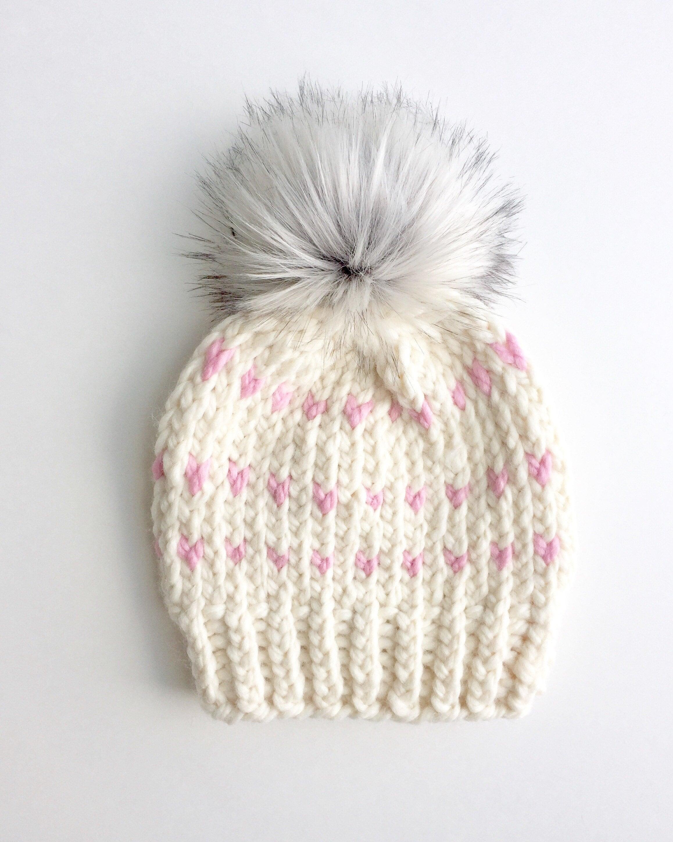 658b1b572 Girls Knit Hat With Fur Pom Pom Toddler Knit Beanie for Girls Child Kids