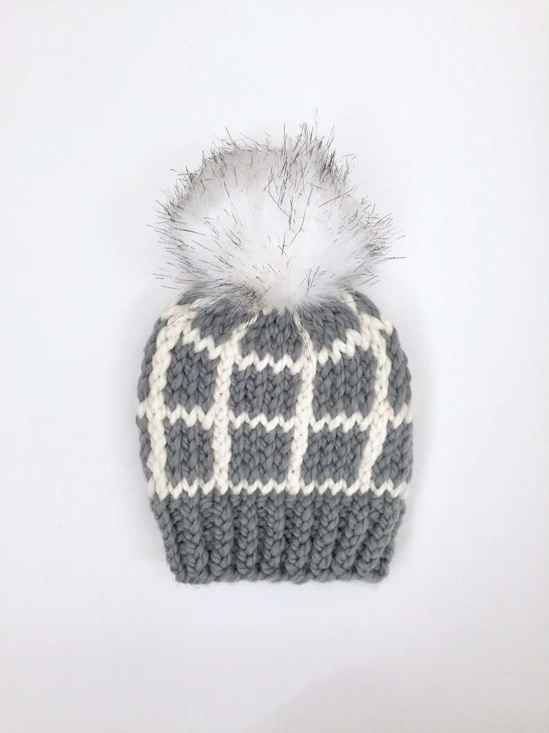 fae95a6c651 Toddler Winter Hat with Pom Pom Grey Beanie For Kids and Child