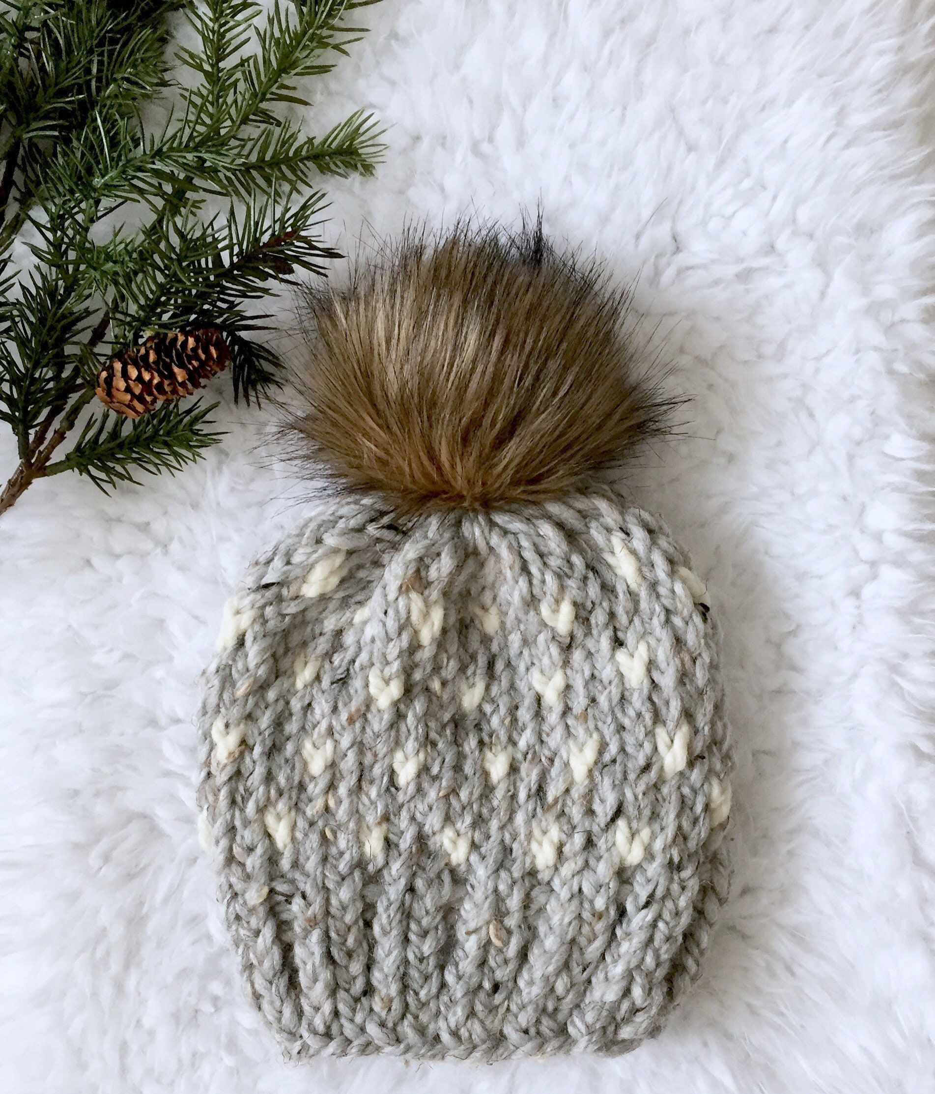 9293507e3bf53 Womens Knit Hat With Fur Pom Pom Grey Beanie Adult Winter Hat