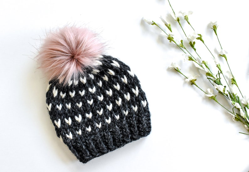0589a91b1b4 Girls Knit hat with Fur Pom pom For Toddler and Child Girls