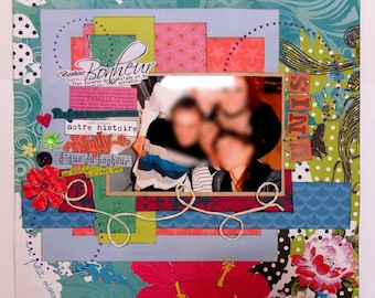 collection of 3 scrap 30cmx30cm pages with photos