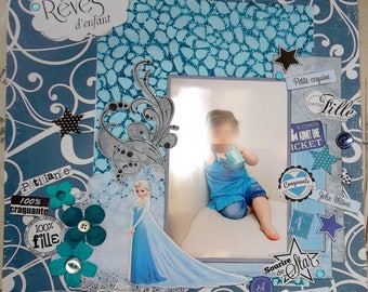 """Dreams"" scrap page to be personalized with 1 photo 30cmx30cm"