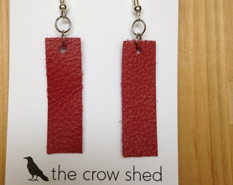 Leather Rectangular Earrings In Multiple Colors