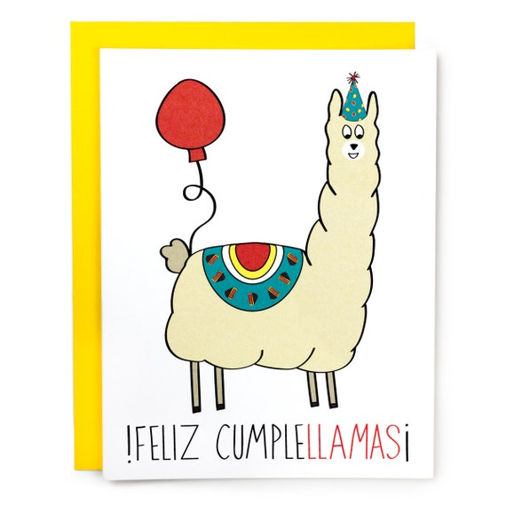 Funny Birthday Card Llama Spanish Pun