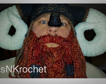 0f6df6c8c5a Crochet Viking hat with optional beard