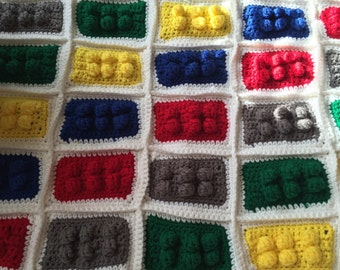 Brick, block toy, building girls or boys blanket you choose size and color