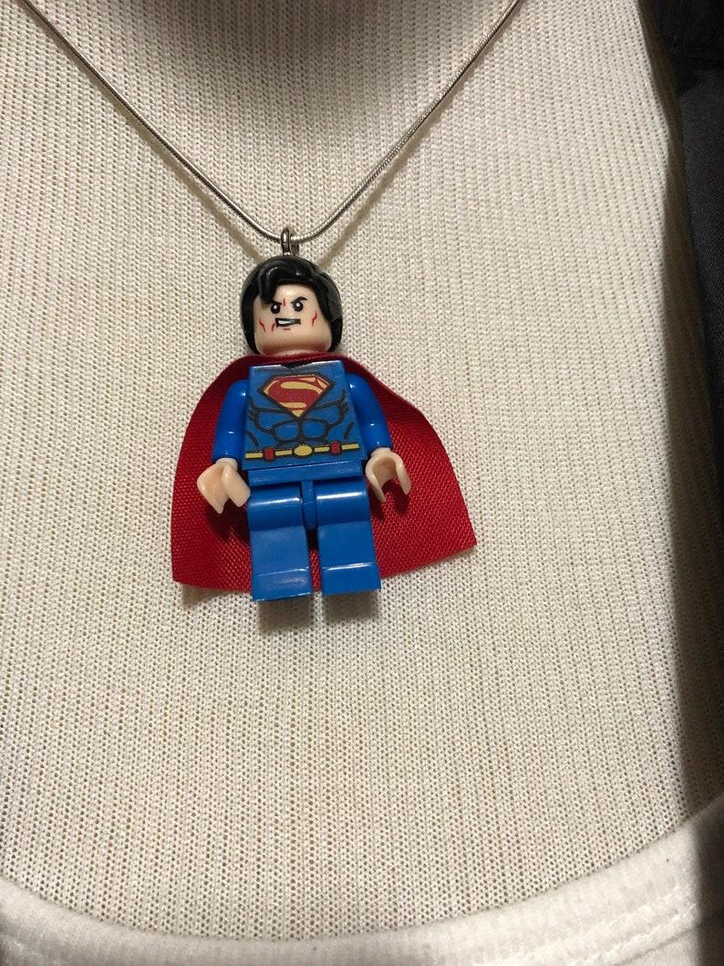 Super hero building block man necklace