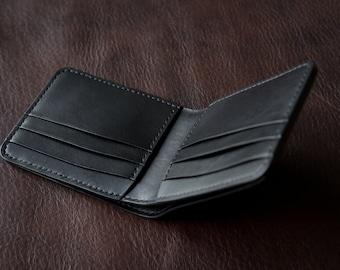 Black Bifold Wallet Leather Bifold Leather Wallet Mens Wallet Card Holder Wallet Minimalist Wallet Slim Wallet Simple Wallet Clean Bifold