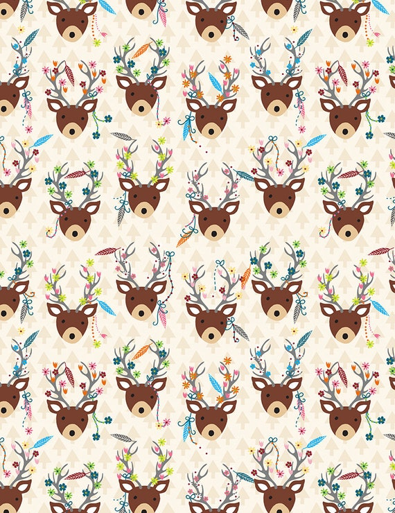 Timeless Treasures Festive Stag Heads 100/% cotton Flannel Fabric by the yard