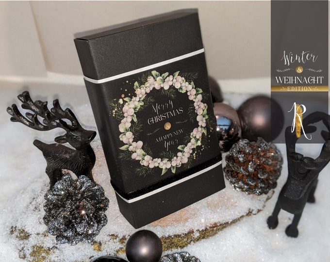 "Featured listing image: Gift - Light box > Christmas edition < ""Black Christmas"" incl. light cover + tea lights"