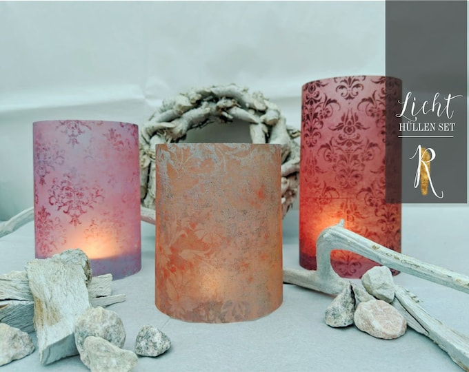 "Light Cover / Windlight > Budenzauber Set en ""Rust/Red/Purple"" 3 pieces = 1 price"