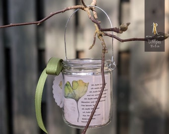 """Light glass / Mourning windlight > grief & consolation < """"I am free"""" lantern in hanging glass"""