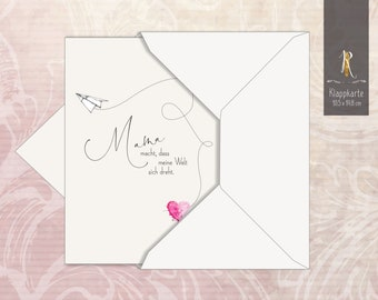 """Greeting Card / Folding Card > For Mom < """"Mom Makes ..."""" 10.5 x 14.8 cm incl. envelope"""