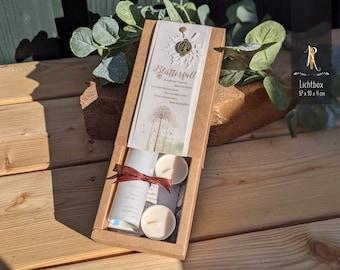"Condolence - Light box > mourning & consolation < ""leaf fall"" incl. light cover + tea lights"