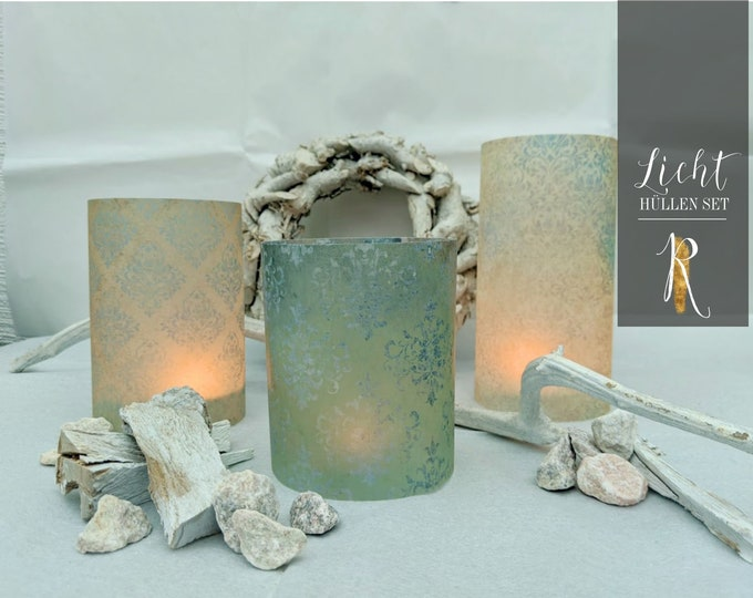 "Light Cover / Windlight > Budenzauber Set en ""Damask Blue/Beige"" 3 pieces = 1 price"