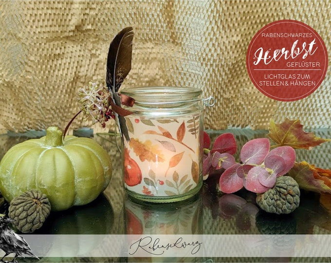"Light glass / Windlight > Autumn whispers - ""Autumn fruits white"" - lantern in hanging glass"