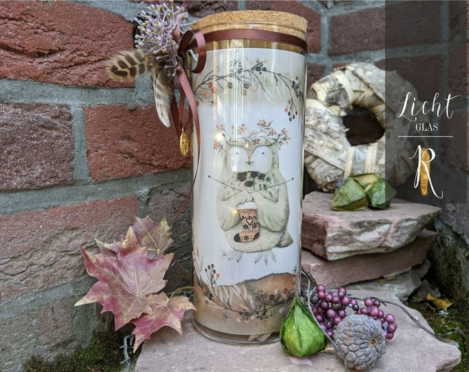 "Light glass / Windlight > Autumn Edition en ""Little Owl"" glass with lid and string of lights"