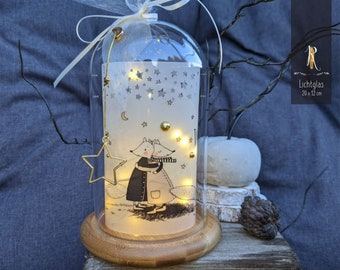 """Light glass / glass bell > For favorite people < """"We don't have everything ..."""" Glass bell incl. wooden base and string of lights"""