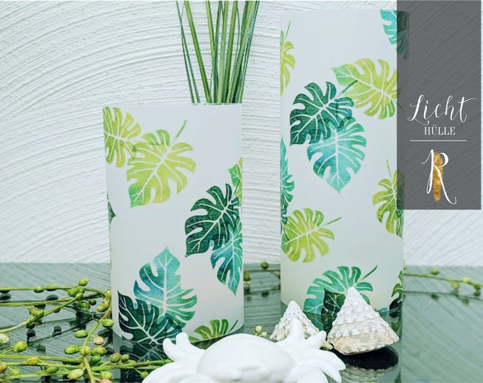 "Light Cover / Windlight > Summer Feeling - ""Tropical Leaves"" - different Sizes"