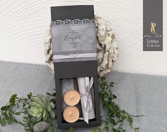 "Condolence - Light box > mourning & consolation < ""Eternity"" J. W. von Goethe / incl. light cover + tea lights"