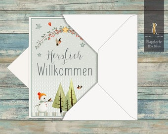 """Greeting card / folding card > Welcome < to the birth """"Little Bear"""" 10.5 x 14.8 cm incl. envelope"""