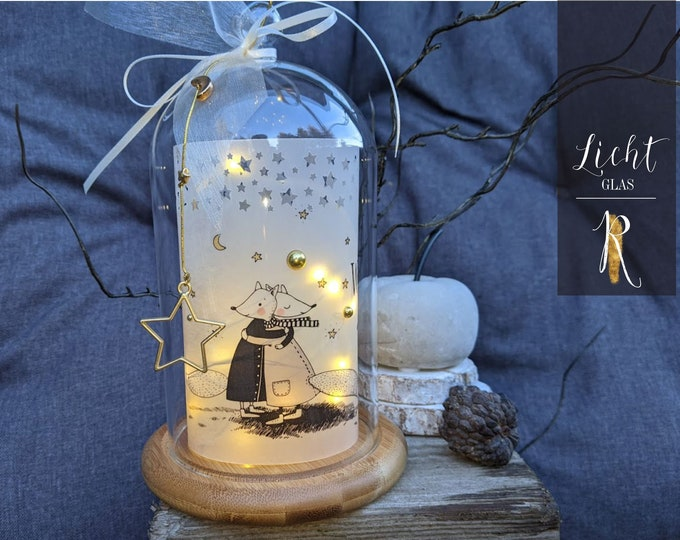 "Featured listing image: Light glass / windlight > For favorite people < ""We don't have everything ..."" Glass bell incl. wooden base and string of lights"