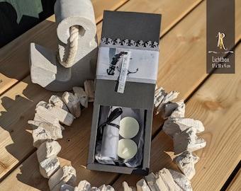 """Condolence - Light box > grief & consolation < """"Faith - Hope - Love"""" incl. light cover + tea lights"""