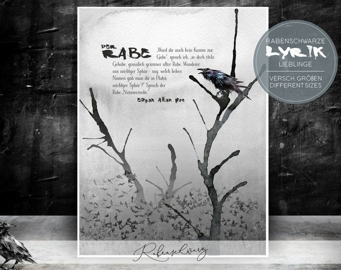 "Print / Print > Lyrics - ""The Raven"" Edgar Allen Poe - Versch. Sizes"