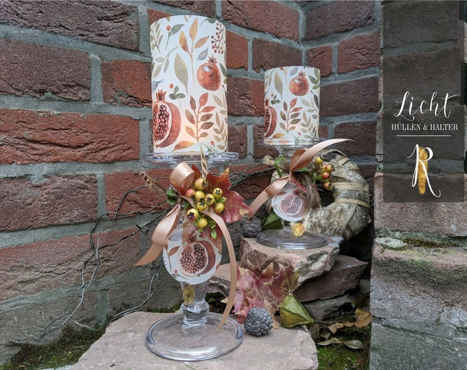 "Candlestick + Light Cover / Windlight > Autumn Edition - ""Autumn Fruits"" Bright - versch. Sizes"