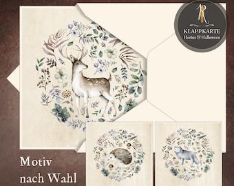 "Greeting, birthday, congratulation card > autumn < ""forest animals"" - 15 x 15 cm incl. envelope"