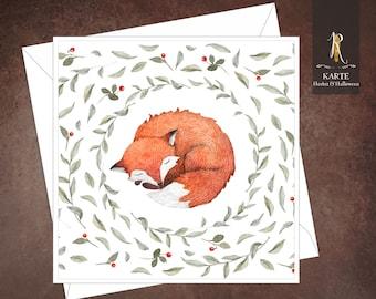 "Greeting, birthday, congratulation card > autumn < ""Little Fox"" - 15 x 15 cm incl. envelope"