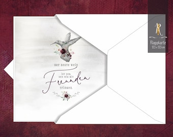 """Gift/greeting/invitation card > Weinrausch < """"The best wine is the one we drink with friends"""" 13.5 x 13.5 cm incl. cover"""