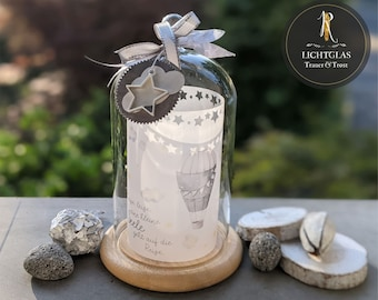"""Light glass / lantern / mourning light > mourning & consolation star child < """"Quiet, quiet, a little soul"""" glass bell incl. wooden base"""