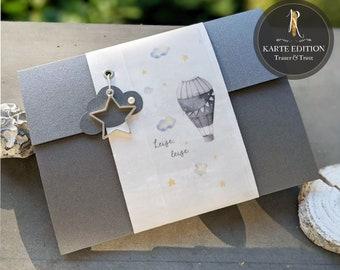 """Trauerkarte / Kondulenzkarte > Trauer & Trost Sternenkind < """"Leise, leise, eine kleine Seele ..."""" - Condolence Card / Edition Card + Envelope"""