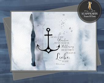 "Grief / Condulence Card > Grief & Consolation < ""Faith - Hope - Love"" - various Sizes / incl. envelope"