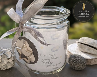 """Light glass / mourning lantern > mourning & consolation Star child < """"Quiet, quiet, a little angel goes on the journey"""" - Lantern in hanging glass"""
