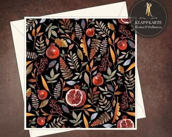 "Greeting, birthday, congratulation card > autumn < ""Forest fruits dark"" - 15 x 15 cm incl. envelope"
