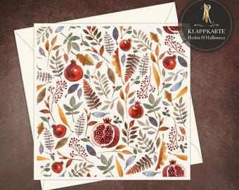 """Greeting, birthday, congratulation card > autumn < """"Waldfrüchte beige"""" - 15 x 15 cm incl. envelope"""